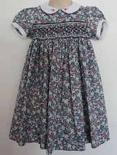 LIBERTY OF LONDON Fabric ~ Tradtional Girls Blue Pink Floral Smocked Dress ~ 3 4
