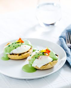 Matcha Eggs Benedict PRINT by: a Couple Cooks Serves: 4 (2 stacks per person) WHAT YOU NEED ¼ cup melted butter 1 cup Greek yogurt Juice from 1 lemon (~ 3 tablespoons) 1 ½ teaspoons matcha (we used...