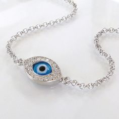 Lucky Evil Eye Bracelet As Seen On Kim Kardashian And Kelly Ripa - NEW - Celebrity Style, Sterling Silver on Etsy, $41.95