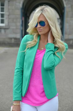 Bright Green blazer + pink top with white skinny jeans