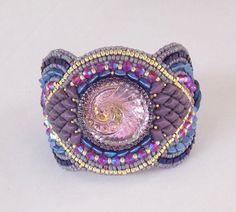 Bracelet, Fashionable cuff, Bead Embroidery, Spring Colours, Trending cuff , OOAK , Seed bead bracelet, Czech glass button , Swarovski cuff