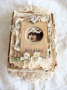 "Handmade Journal, Vintage Junk Journal, Mini Album, Mixed Media Art Book, Chic, Vintage, Shabby - ""Believe"""