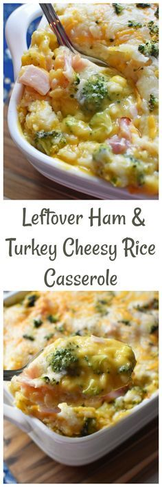 Leftover Ham & Turkey Cheesy Rice Casserole- A delicious recipe that is perfect for using leftover Thanksgiving or Holiday ham or turkey. Lots of cheese and plenty of flavor! via @savvysavingcoup #DoMoreWithKnorr #AD