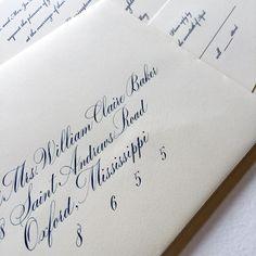 Custom navy gouache and a Bickham invitation for inspiration. Best way to spend a rainy day . #calligraphy #wedding #weddingseason #winsorandnewton #navy #gouache #bickham #envelope #invitation