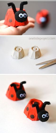 Simple egg box ladybug These egg carton ladybugs are adorable And they are so easy to do The kids loved doing them and then nbsp hellip Kids Crafts, Summer Crafts, Toddler Crafts, Preschool Crafts, Craft Projects, Arts And Crafts, Craft Ideas, Egg Crafts, Beach Crafts