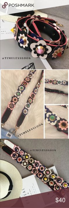 Beautiful floral studded rivet bag strap Adorable 'fendi' street style look perfect for any bag or mini cross body - top seller on our pop up shops so bringing a couple here -  - UNBRANDED - Brand new - No trades 43 inches long  Ships tomorrow   Please visit 'closet info' or 'closet rules' for more info about us :) Bags