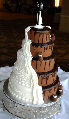 My future wedding cake.a brides cake and grooms cake in one. Crazy Wedding Cakes, Amazing Wedding Cakes, Amazing Cakes, Cake Wedding, Diy Wedding, Wedding Pins, Wedding Groom, Wedding Details, Wedding Jewelry