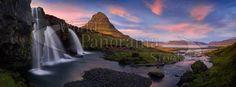 Panoramic image of Iceland | World Panorama Stock Photo Agency Panoramic Images, Photo Library, Iceland, Waterfall, Stock Photos, World, Poster, Outdoor, Ice Land