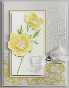 Fabulous FloretsSketch inspired by Mary Brown Colors- daffodil delight, lucky limeade whisper white, flowers shimmery white pattern paper beyond the garden embossing folder- flower garden accents- rhinestone brad bow technique- magic reinker spread- aqua painter with reinkers and shimmery white card stock