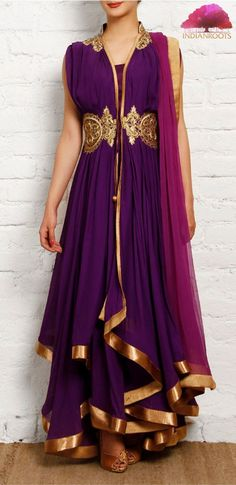 Purple and golden georgette anarkali by Gyans on Indianroots.com: