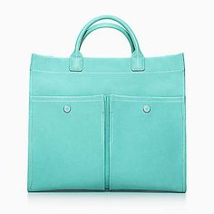 Jitney tote in Tiffany Blue® canvas and grain leather.