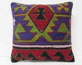 "kelim pillow 18"" floor pillow cover bohemian bedding pillow unusual cushion retro throw pillow embroidered pillow throw pillow cover 15273"