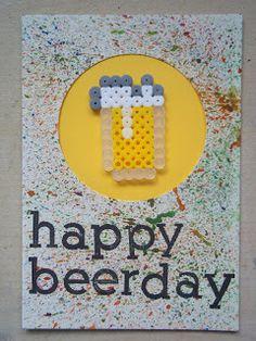 Beer Hama bead birthday card.