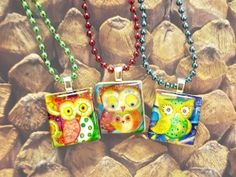 "Scrabble Tile Pendants from our set ""Whimsical Owls"" - Mango and Lime Design"