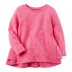 Baby Girl Carter's Ruffled Back French Terry Sweater, Size: 18 Months, Pink