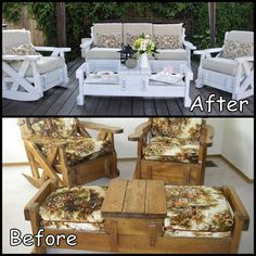 Old Sofa Couch Set Makeover THAT IS ONE HECK OF AN UPCYCLE!!!
