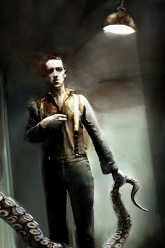 Portrait of H.P. Lovecraft by Bastien Lecouffe Deharme. I'm in awe.