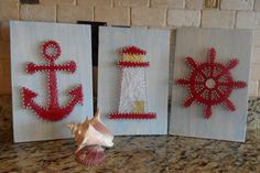 Nautical String Art Set by WeHeartStringz on Etsy String Wall Art, Nail String Art, String Crafts, Yarn Crafts, Diy And Crafts, Arts And Crafts, Anchor String Art, Resin Crafts, Simple Artwork