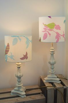 2 Shetland Starling 20cm Lampshades 1 in the pink and purple leaf and the other turquoise and green design.  #Shetland #fairisle #birds #textiles #textiledesign #textileprint #handmade #home #digitalprint #ornate #country #shabbychic