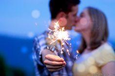 cute engagement photo #engagement #sparklers #kissing