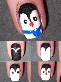 Cute penguin tutorial from For the Love of Nail Art