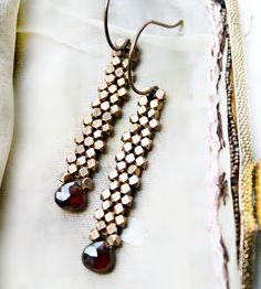 Garnet Brass Drop Earrings
