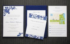 An Engaging Affair, navy blue peony silk fabric wedding invitation