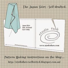 Pattern Puzzle - The Japan Skirt - no block required! Self-draft pattern making instrucitons to make this drape skirt pattern. Pdf Sewing Patterns, Sewing Tutorials, Clothing Patterns, Diy Clothing, Dress Tutorials, Coat Patterns, Blouse Patterns, Design Patterns, Pattern Cutting