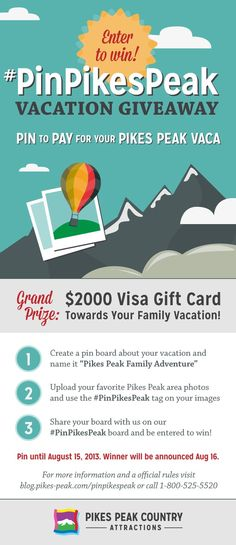 Pin to pay for your Pikes Peak Vaca!  #PinPikesPeak