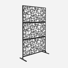 x Free Standing Laser Cut Metal Screen Panel Privacy Stand, Black, Outdoor Décor