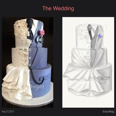 Custom wedding cake Wedding dress inspired wedding cake Dual design wedding cake Superhero wedding cake Batman wedding cake Digital cake sketching Custom designed wedding cake