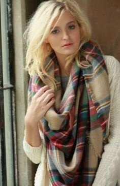 Carli Beige Tone Plaid Oversized Square Blanket Scarf Wrap Piper and Hollow