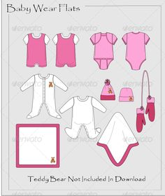 Baby Wear Flats  #GraphicRiver  Baby Wear Flat Vectors comes in pinks and whites but you can make them any color and for boy or girl for your project. Re color add prints or texture the possibilities are endless files provided are in EPS, AI and SVG.   Enjoy your little Ones Clothing *Teddy Bear Is Not Included In Download  If you have any trouble with the download or need any help or different version of ai ( older) please mail me designsupport@whats2wear   Thank you for your purchase.