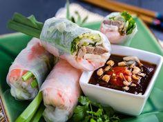 Spring rolls by Vietnamese Cuisine, Vietnamese Recipes, 200 Calories, Pork Wraps, Pan Fried Fish, Banh Xeo, Peanut Dipping Sauces, Light Soups, Fresh Spring Rolls