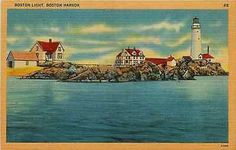 Boston Massachusetts MA 1940s Boston Lighthouse Boston Harbor Vintage Postcard
