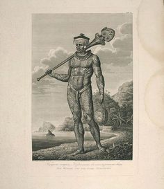 KRUSENSTERN, A.I. /TILESIUS, W. - Plate of a tattooed male from Nukuhiva (Marquesas Islands)