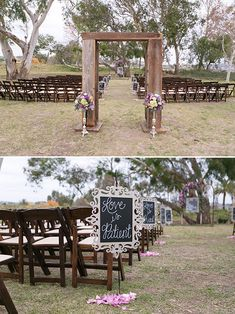 signs lining the aisle @weddingchicks