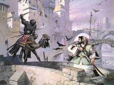 "Angus McBride: ""The Bridges of Charnesra"" (Haradrian Sauron Champion on War Camel)."