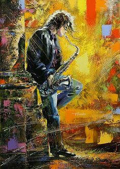 Fine Art Prints Musician Jazz Saxophone Greeting Card with Envelope Inside Premium Quality Arte Jazz, Jazz Art, Poster Jazz, Painting & Drawing, Painting Prints, Paintings, Home Bild, Free Art Prints, Art Pictures