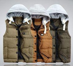 Mens Winter Slim Thicken Coats Puffer Cotton Zip Hooded Warm Vest Down Jackets #Unbranded