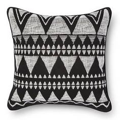 Global Embroidered Square Decorative Pillow Black - Room Essentials™ : Target