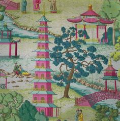 MANUEL CANOVAS PAGODA CHINOISERIE TOILE FABRIC REMNANT ROSE GREEN MULTI