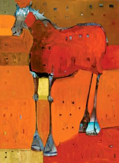 BEYOND ROUGE CHEVAL - oil on canvas 74X54in