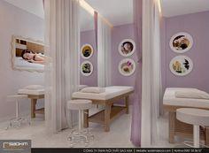 Khách hàng đi qua sẽ bị hút hồn ngay bởi ánh sáng nổi bật và không gian đẹp mắt nơi đây. Việc lựa chọn gam màu tím mộng mơ tạo hiệu ứng thị giác rất tốt cho thiết kế spa đẹp. #saokimdecor #thiếtkế #thietke #spagreen #thietkenoithat #thicongnoithat #noithat #nộithất #phongkhach #thietkephongkhach #spa #thietkespa #interior #apartment #apartmentdecor #designinterior #spadecor #designspa Spa, Divider, Design Shop, Room, Furniture, Home Decor, Bedroom, Decoration Home, Room Decor