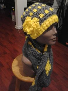 Side view of the Lemon Heather Hat and scarf set.. Come check out this set and more at www.facebook.com/AlmbjHandmade or order directly from our Etsy page at www.etsy.com/shop/ALMBandJHANDMADE Look forward to seeing you there. #crochet #hat #scarf #lemon #set