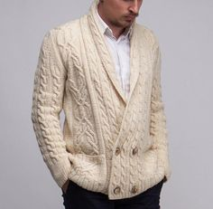 MENS HAND KNITTED WOOL CARDIGAN 99A