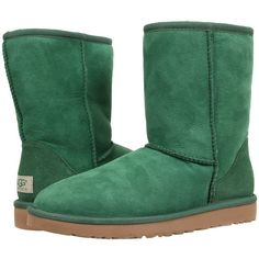UGG Classic Short (Pine Twinface) Women's Pull-on Boots ($130) ❤ liked on Polyvore featuring shoes, boots, ankle booties, shoes - boots, green, fur booties, green boots, pull on ankle boots, bootie boots and short ankle boots