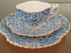 Queens China G W Sons England Blue Trio CUP MUG Saucer Plate