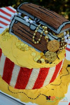 Treasure cake at a Pirate Birthday Party! See more party ideas at CatchMyParty.com!