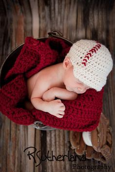 Baseball Beanie-Newborn/Infant/Boys Hand Crochet -Batter's Up Baseball Visor- MADE TO ORDER- Vintage Inspired, Cranberry Red, Cream. $25.00, via Etsy.